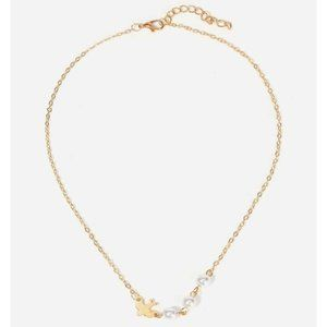 2/24 Gold Dove  & faux pearl short necklace